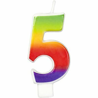 Wilton Number Age 5 RAINBOW Candle Celebration Birthday Party Cake Decorations