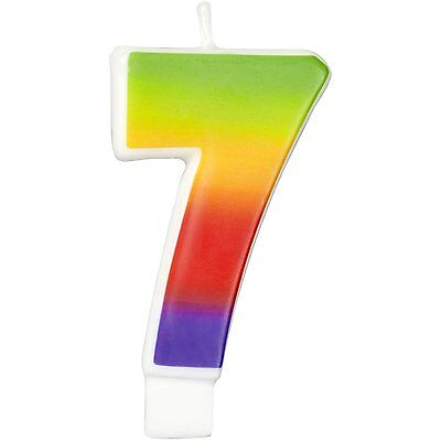 Wilton Number Age 7 RAINBOW Candle Celebration Birthday Party Cake Decorations