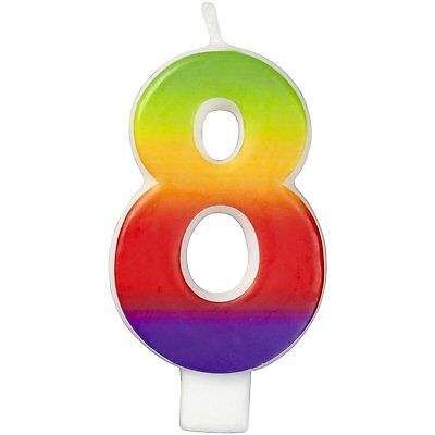 Wilton Number Age 8 RAINBOW Candle Celebration Birthday Party Cake Decorations