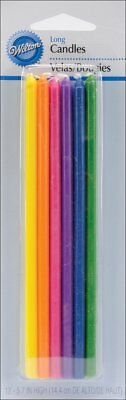 Wilton 10 Pack Multi Colour LONG BIRTHDAY CANDLES Birthday Party Cake Decoration