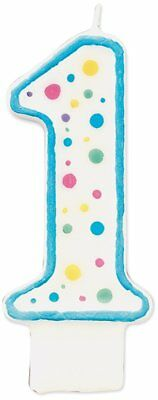 Wilton BLUE Polka Dot Number 1 Age Candle Children Birthday Cake Decoration 3 ""