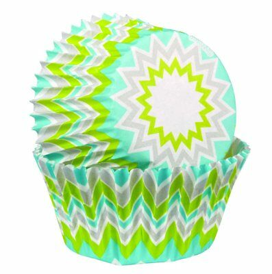 Wilton 75 Pk STANDARD Chevron Lime Cupcakes Muffin Party Baking Decorating Cases