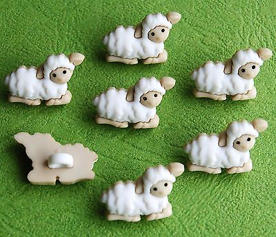 TINY SHEEP - Baby Animal White Lamb Wool Farm Shepherd Dress It Up Craft Buttons
