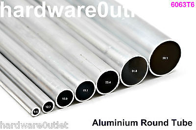 Round Aluminium TUBE Pipe Bar - 8 Diameters available & 6 Cut Lengths available