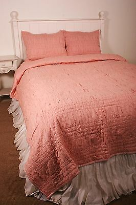 Queen Quilt Set Victorian Heart Lucy Rose Pink Ruched Shirred Cotton