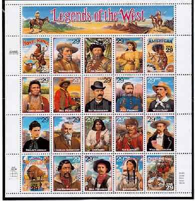 Scott  #2869... 29 Cent.... Legends of the West... Sheet of  20