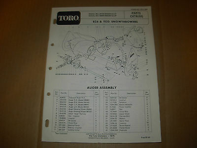 Toro 826 , 1132 Snowthrower Snowblower Parts Manual , s/n 38150/38090-9000001 up