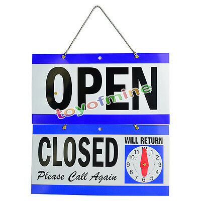 """OPEN CLOSED WILL RETURN CLOCK SIGN 5.5 x11.5"""" Window Store w/ Time Hanging Chain"""