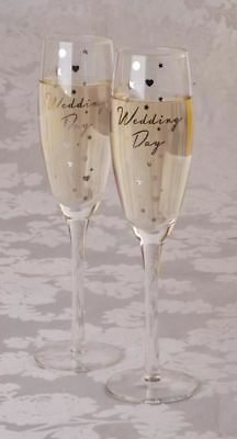Wedding Day Champagne Flute Glasses/Gift Set of 2