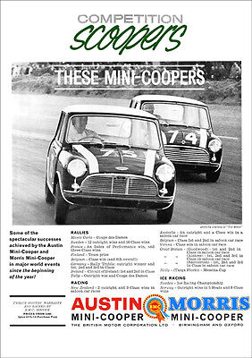 Mini Cooper Retro A3 Poster Print From Classic 60's Advert