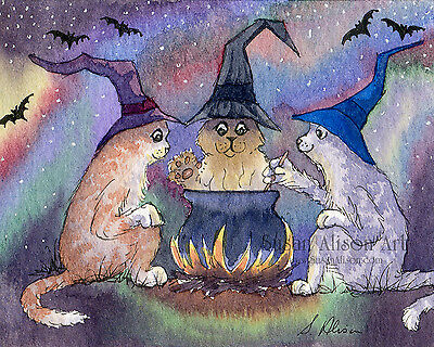 cat art 8x10 print halloween witches cauldron casting spells potion Susan Alison