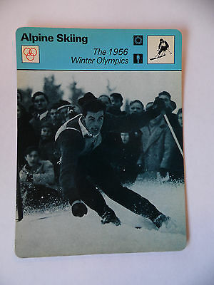 Sportscaster Rencontre Card - Alpine Skiing - The 1956 Winter Olympics