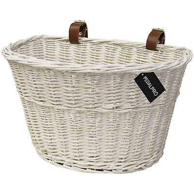 Pedalpro White Wicker Bicycle Basket Bike/Cycle Shopping Leather Look Straps Mtb