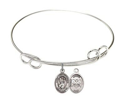 Silver Tone Bangle Bracelet with St Christopher National Guard Charm, 8 Inch