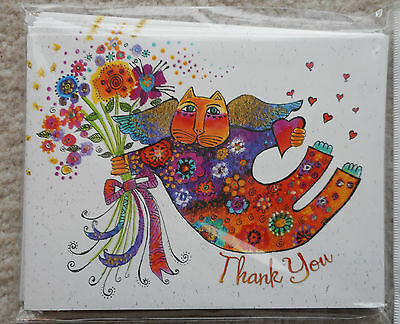Laurel Burch Valentino Flowers Cat Thank You Note Cards 8 Cards/Envelopes