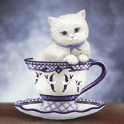 Brewed to Purr-fection Cats - Blue Willow Tea Cup Cats Figurine