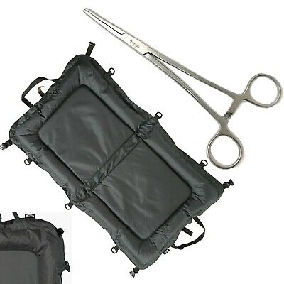 "NGT Carp Fishing Beanie Unhooking Large Mat 110cm x 60cm + 8"" Straight Forceps"