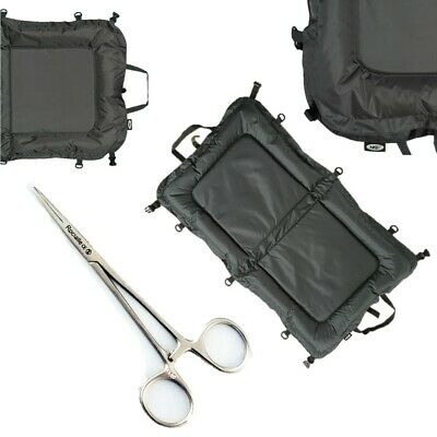 "NGT Carp Fishing Beanie Unhooking Large Mat 110cm x 60cm + 5"" Straight Forceps"