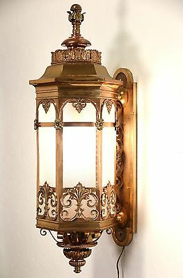 "Bronze Embossed 1910 Antique Architectural Salvage 40"" Wall Lantern"
