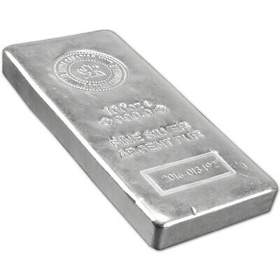 100 oz. RCM Silver Bar - Royal Canadian Mint .9999 Fine