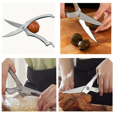 Stainless Steel Cooking Chicken Bone Shears Kitchen Scissors with Safety Buckle