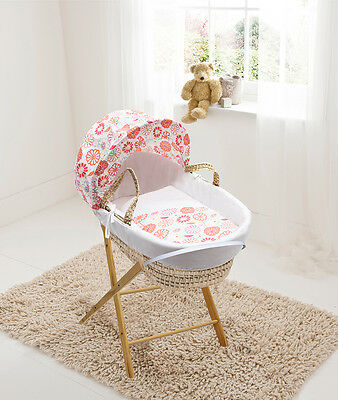 Funky Flowers White Wicker Moses Basket on Deluxe Compact White Rocking Stand