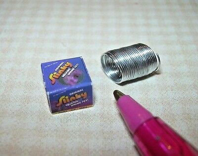 "Miniature Wire ""Slinky"" Toy with Box for DOLLHOUSE 1/12 Scale Miniatures"