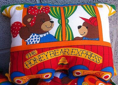 HONEYBEAR EXPRESS plush 3-piece train pillow toy Baby Nursery bears engine 1980s