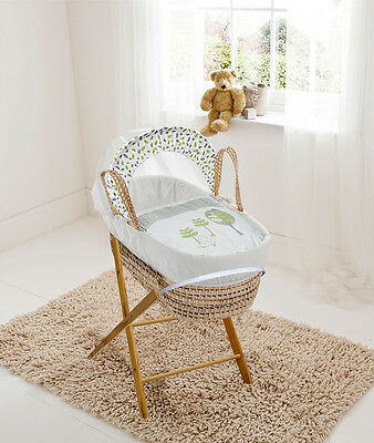 Birds White Palm Moses  Basket & Folding Stand