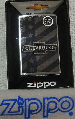 ZIPPO  CHEVY Lighter STARS & STRIPES Mint In Box GM Bow Tie Logo NEW