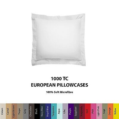 Pair (2) European/Square Size Pillowcases Cushion Cover 1000TC Microfibre Colour