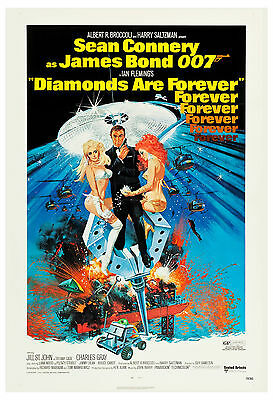 James Bond: * Diamonds are Forever * Sean Connery Poster 1971   13x19