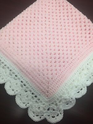 SOFT Pastel Pink Crocheted Baby Blanket With White Scalloped Edges