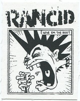 RANCID mohawk/give 'em the boot CLOTH PATCH sew on **FREE SHIPPING** punk band