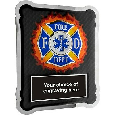 Personalized Firefighter Medical EMT Hero Plaque Chrome Plated Stainless Steel