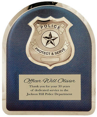Personalized Police Officer Hero Plaque Chrome Plated Stainless Steel