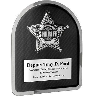 Personalized Sheriff Plaque Chrome Plated Stainless Steel - Engraved Free