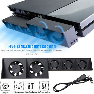 New! Turbo Temperature Control USB Cooling Cooler 5-Fan for Playstation 4 PS4