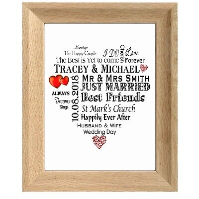 Personalised Wedding Gift Plaque For Bride And Groom Word Art Wooden