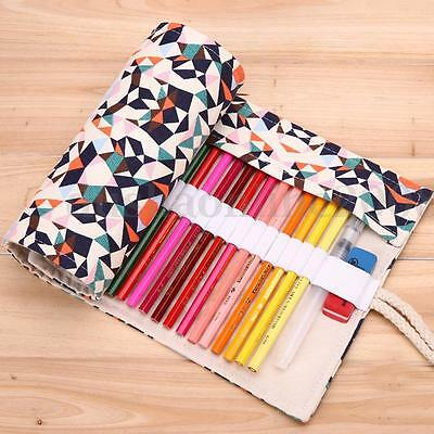 36/48/72 Stylo Crayon Maquillage Pinceau Trousse Etui Toile Sac Housse Rangement