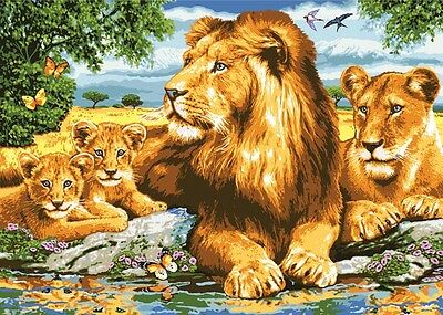 Grafitec Printed Tapestry Needlepoint Canvas - Lion Family