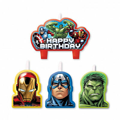 4 x Avengers Party Birthday Cake Candles assorted Avengers Party Supplies