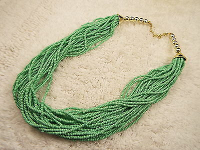 Mint Green Micro Bead Multi Strand Torsade Necklace (A40)
