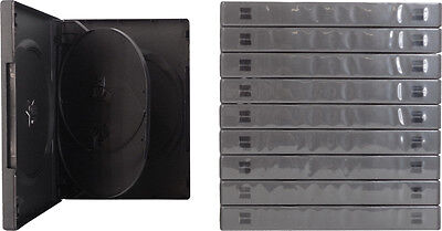 (10) DV4R22BK 4 Disc Capacity DVD Replacement Cases Black Quad Chubby 22mm Boxes