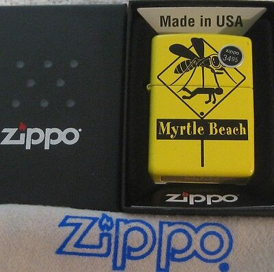 ZIPPO  MYRTLE BEACH WARNING Lighter MOSQUITO Sign  MB Tourist  MINT In BOX