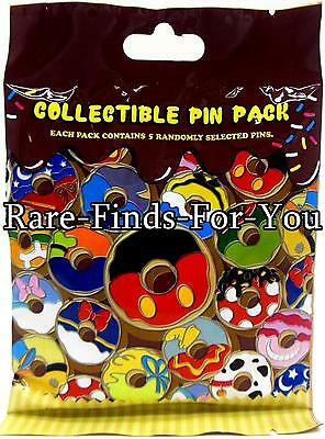 Disney Parks Mickey and Friends Donuts Doughnuts Mystery 5-Pins Set Pack Bag NEW