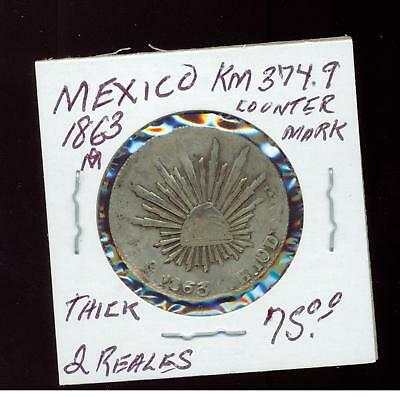 1863 M Mexico 2 Reales  Coin KM 374.9 counter mark