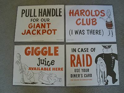 Harolds Club Casino Reno Nv Signs In Plastic Sleeves (Set Of 4)