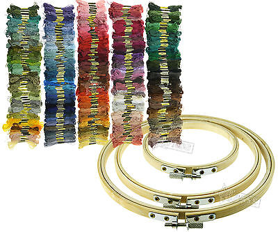 Cross Stitch Embroidery  Bamboo Hoops 50/100/200/447Colors Thread Skeins