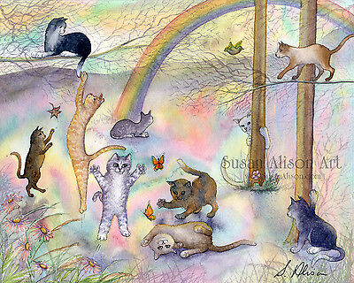 Rainbow Bridge cat 8x10 print tuxedo sorry your loss in sympathy bereavement